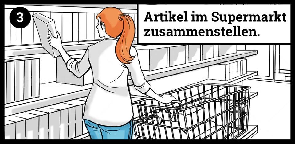 Artikel im Supermarkt zusammenstellen